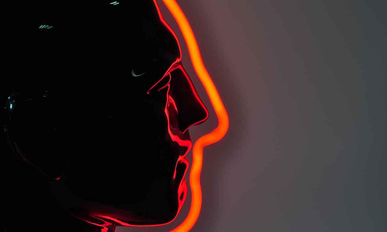 Красный неон голова