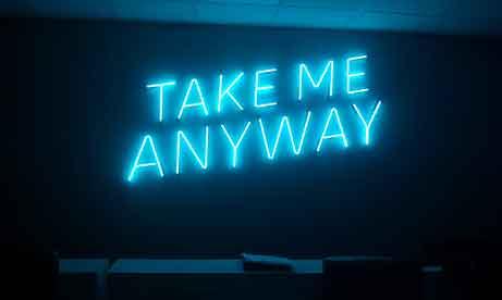 """Неоновые надписи """"TAKE ME ANYWAY"""" для офиса """"AnyWay"""" (миниатюра)"""