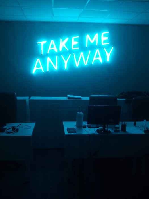 "Неоновые надписи ""TAKE ME ANYWAY"""