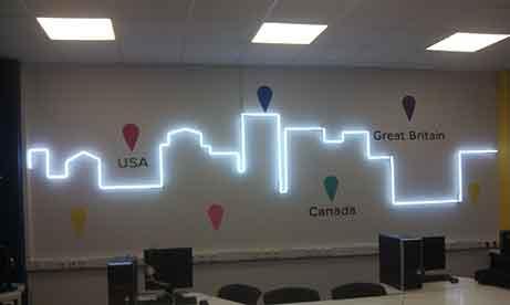 """Неоновая подсветка """"горизонт города"""" для офиса """"AnyWay"""" (миниатюра)"""