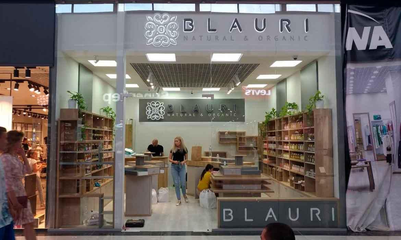 """Объемные буквы контражур для магазина косметики """"Blauri"""" в в Lavina Mall"""