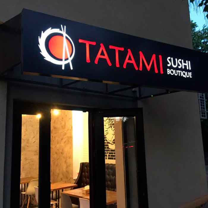"""Лайтбокс с прорезанными букваии """"Tatami"""""""